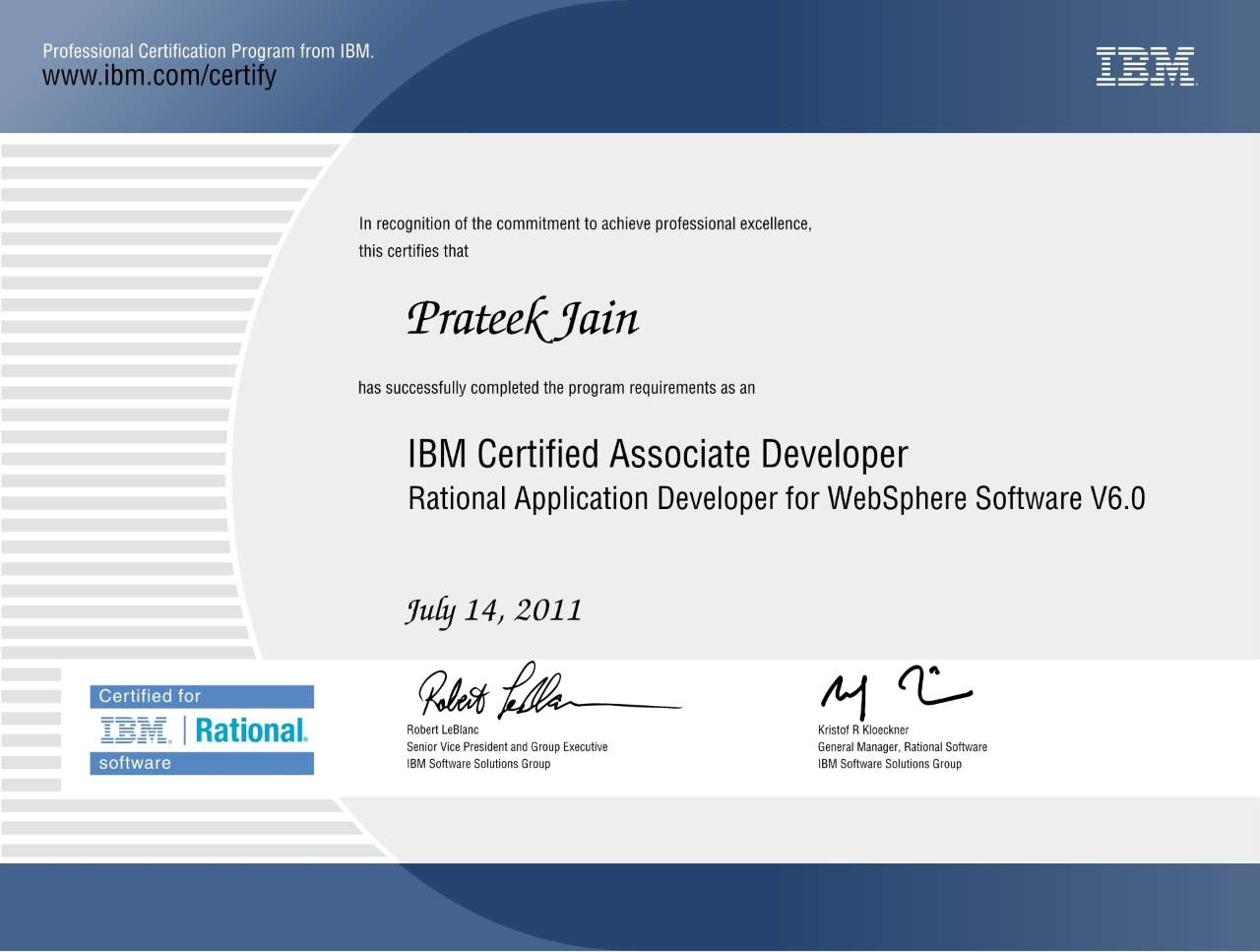 Certifications Prateek Jain