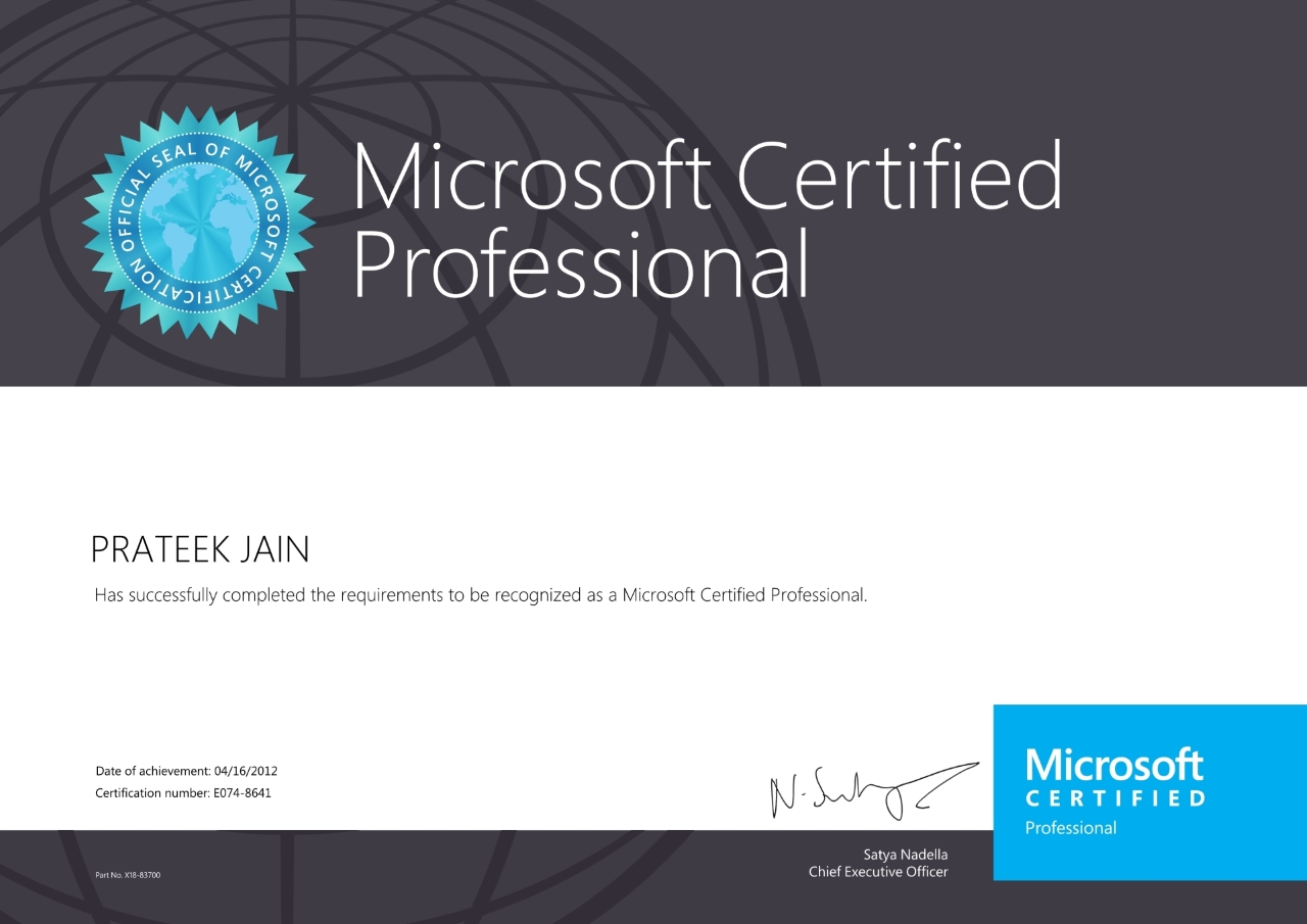 Certifications prateek jain microsoft certification profile xflitez Image collections